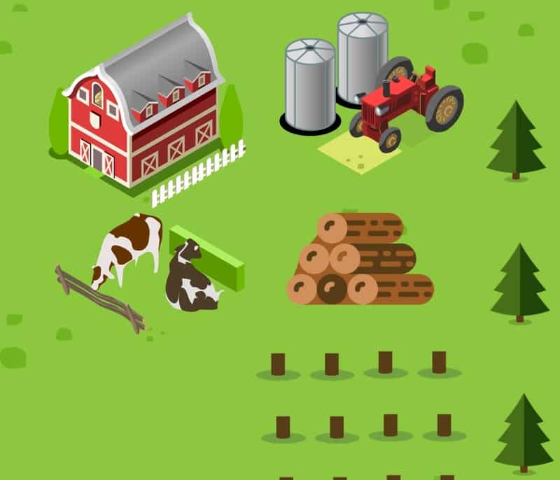 Icon depicting a farm with crops and livestock, and forestry activity