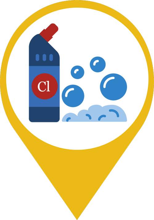 Icon showing bubbles and a container of chlorine disinfectant