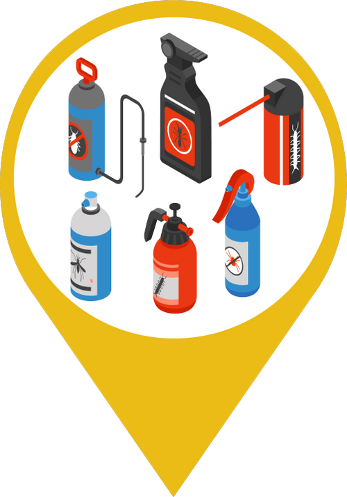 Icon showing six different spray bottles and cans of pesticides