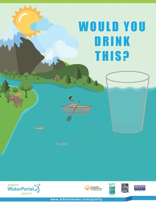 Poster image showing cartoon mountains and blue water with a drinking glass and the words would you drink this?