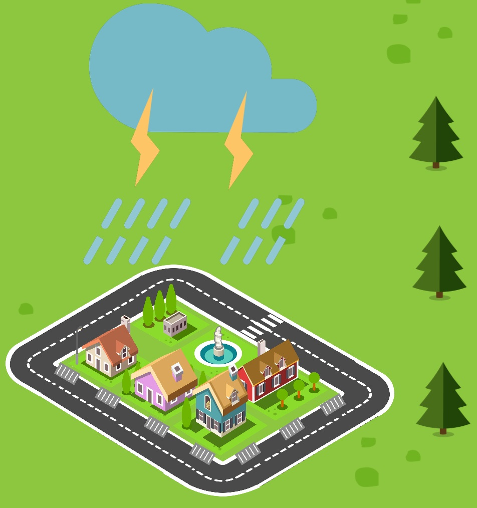 Icon depicting a urban area being rained on with storm drains visible
