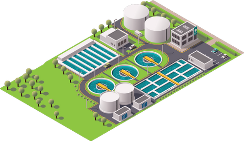 Icon depicting a water treatment plant seen from above