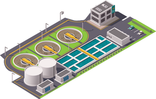 Icon depicting a wastewater treatment plant seen from the air
