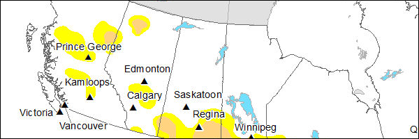A map of drought impacted areas in 2013