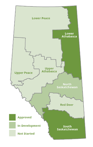 Land Use Planning Hub map of the seven planning regions of Alberta.